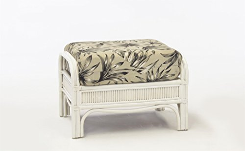 South Sea Rattan Bermuda Ottoman in WhiteWash Finish, Vera Cruz Fossil (Rattan Bermuda)