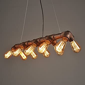 lightess vintage industrial pendant ceiling light steampunk lamp retro metal water pipe edison. Black Bedroom Furniture Sets. Home Design Ideas
