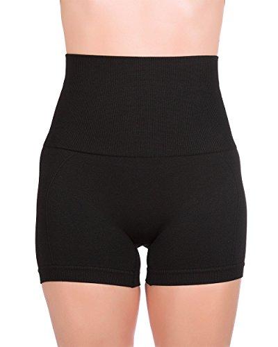 Homma Women's Tummy Control Fitness Workout Running Yoga Shorts (Medium, Black 2)