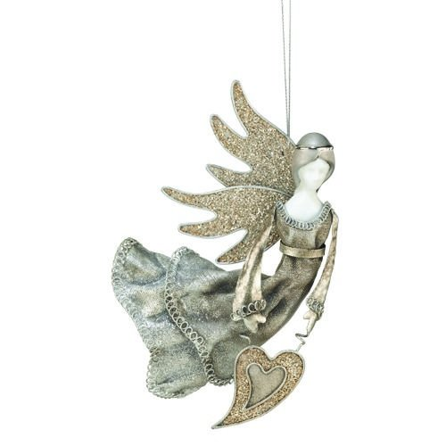 Regal Art & Gift Stardust Angel Ornament, Glitter Heart