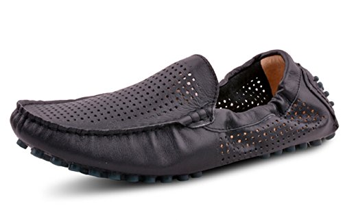 Happyshop (tm) Véritable En Cuir Souple Casual Slip-on Flâneurs Mocassins Conduire Des Voitures De Voitures Chaussures Noires (évidement)