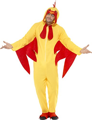 Smiffy's Adult Men's Chicken Costume, Hooded All In One, Party Animals, (Farm Animal Costumes Adults)