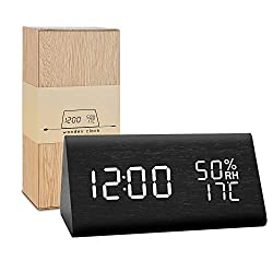 BlaCOG Wooden Alarm Clock,Digital Alarm Clock Large Time Display,Wooden LED Desk Clock with Date/Temperature/Humidity,Smart Voice-Activated Clock with 3 Alarm Groups for Bedroom/Kids-Black/White