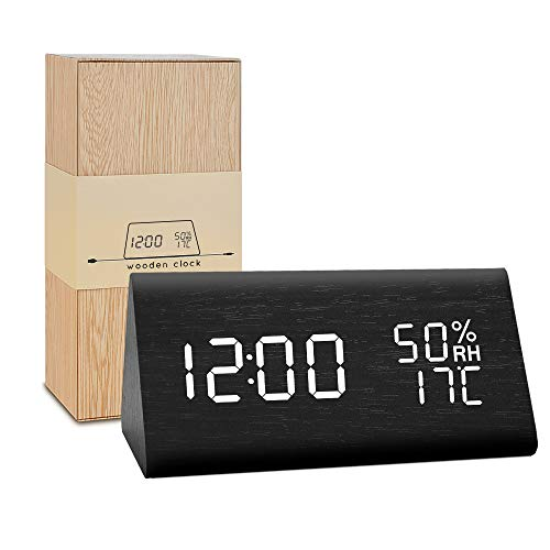 - BlaCOG Wooden Alarm Clock,Digital Alarm Clock Large Time Display,Wooden LED Desk Clock with Date/Temperature/Humidity,Smart Voice-Activated Clock with 3 Alarm Groups for Bedroom/Kids-Black/White