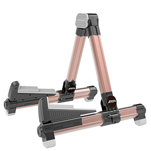 Aroma Guitar Stand - Foldable Aluminum Floor Stand Adjustable for All Types of Guitars and Basses Easy to Carry Steady Stand Safe Protection (Rose Gold) from Aroma