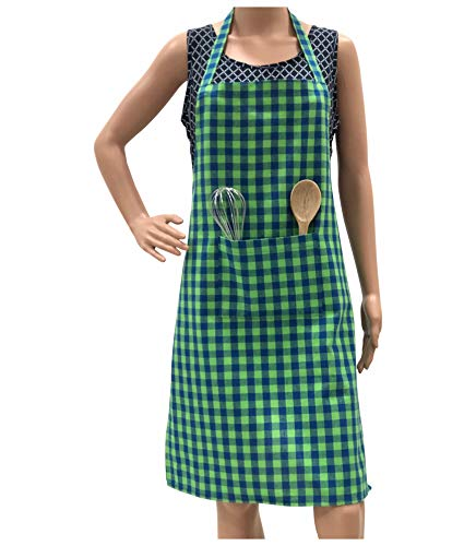 Pixel-Home-Cotton-Apron-with-Front-Center-Pocket-with-Ends-Green-Checked