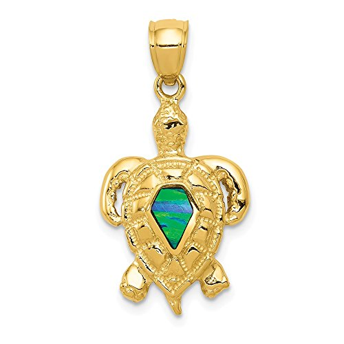 FB Jewels Solid 14K Yellow Gold Polished W/Created Blue Opal Turtle Pendant ()