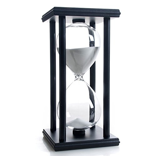Hourglass 60 Minutes White Sand Timer, Black Wooden