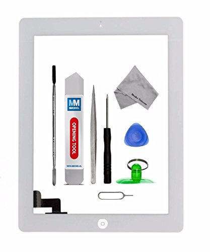 MMOBIEL Digitizer for IPAD 2 (White) Touch Screen Front Display Assembly Incl Home Button flex Camera Holder Pre Installed Adhesives and Tool kit