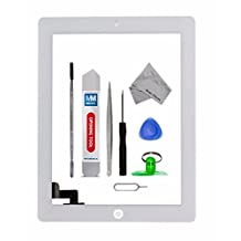 IPAD 2 WHITE Digitizer Touch Screen Front Display Glass Assembly - Includes Home Button and flex + Camera Holder + Pre Installed Adhesive Stickers and Professional Tool kit for easy installation now also incl. Bezel Frame