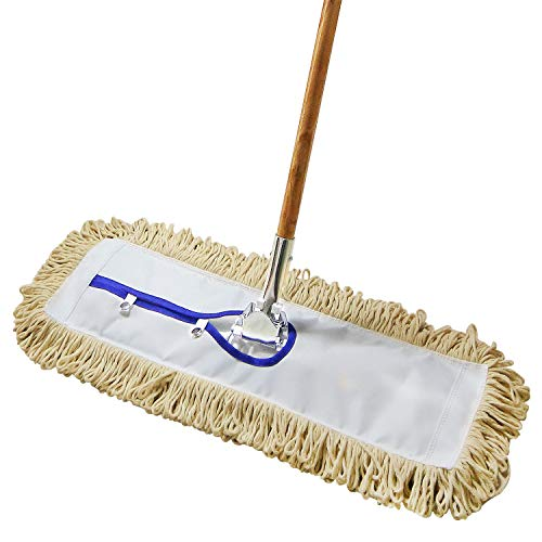 """24"""" Industrial Strength Loop-End Cotton Dust Mop with 59"""" Long Wood Handle and Metal Frame, Best Value for Wet and Dry Mopping on Hardwood, Laminate, Concrete Floor Thick Tufted Mop Head"""