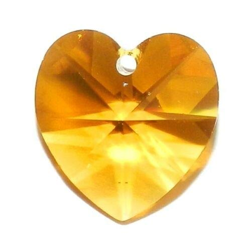(SCI245 Topaz Orange 14mm Faceted Heart Crystal Pendant Bead 1pc Crafting Key Chain Bracelet Necklace Jewelry Accessories Pendants)