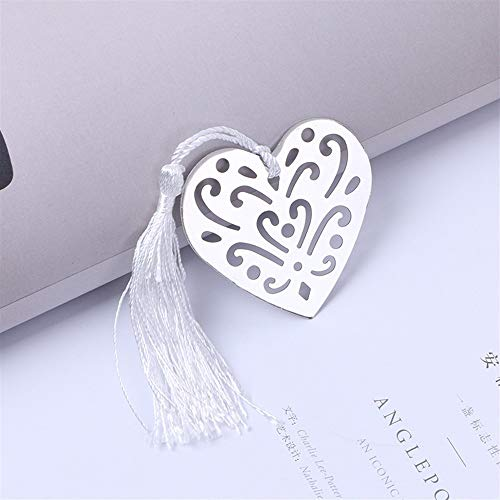 (Chusea Simple Pratical Supplies Hollow Heart-Shaped Stainless Steel Ultra Thin Metal Bookmark Tassel Gift Box (Silver))