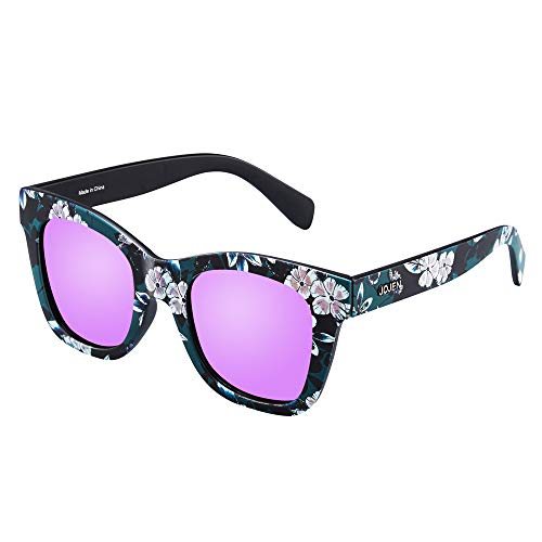 JOJEN Polarized Sunglasses for Women's Cat Eye Retro Ultra Light Lens TR90 Frame JE009 (Floral Frame Fuchsia Lens)