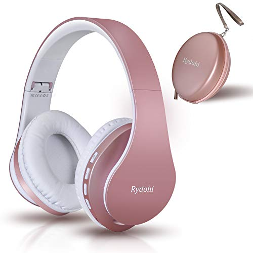 Bluetooth Headphones Over Ear, Rydohi V5.0 Hi-Fi Stereo Wireless Foldable Headphones Wireless and Wired Headsets with Built-in Mic, Micro SD/TF, FM Radio for Cell Phone PC TV Travel (Rose Gold)