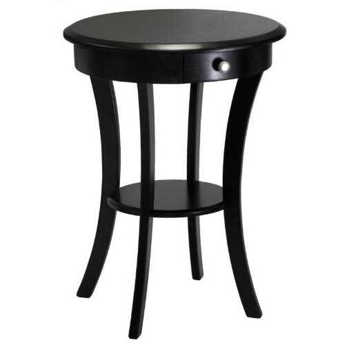 Amazoncom Winsome Wood Round Table with Drawer and Shelf Black