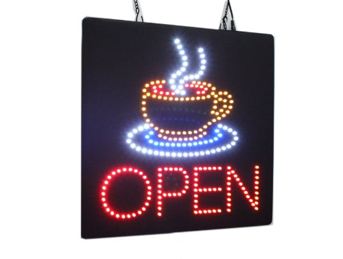 Open with a Coffee Mug Sign, High Quality Open Sign, Store Sign, Business Sign, Windows Sign for Coffee, Tea Shops, Cafes, Restaurants by Topking LED