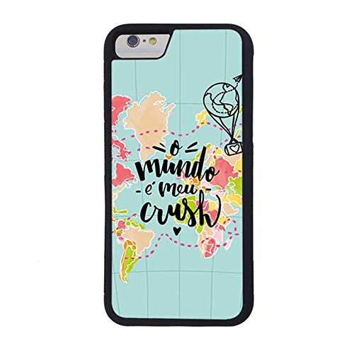 Skinsends Cool World Map Love Travel Phone case Compatible with iPhone 7, o Mundo e MEU Crush Hard Back Compatible with iPhone 7/8 ()