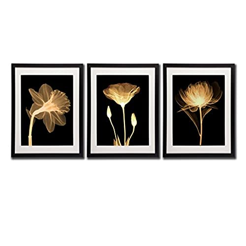 Black White And Gold Wall Art Canvas Prints Decor Framed Flowers Painting  Poster Printed On Canvas Poppy Flower Pictures 3 Piece Black Frames White  Mat ...