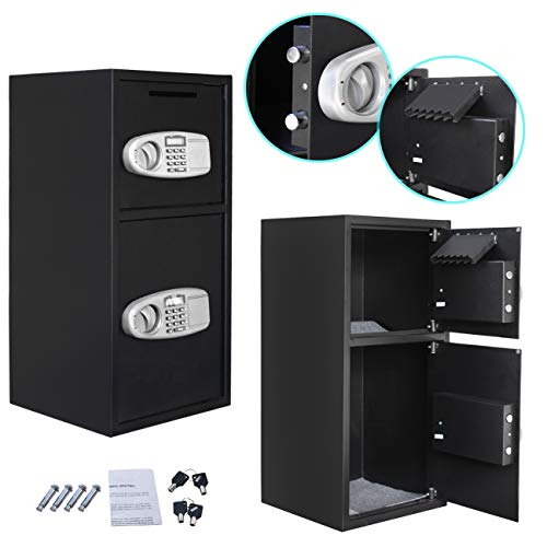Smartxchoices Black Double Door Digital Security Safe Box - Large Steel Heavy Duty Electronic Digital Keypad Lock Security Drop Slot Safe for Gun Cash Money Jewelry Home Office