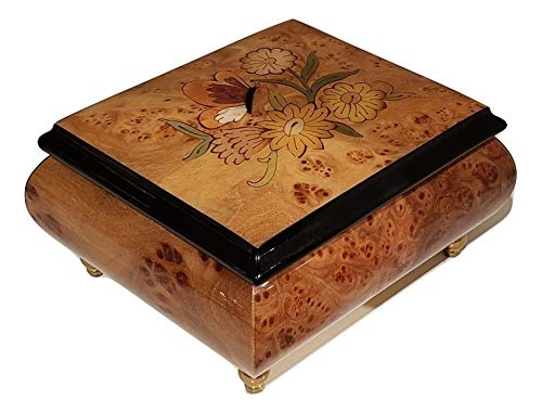 Elm Italian inlaid musical jewelry box with original butterfly design and customizable tune options