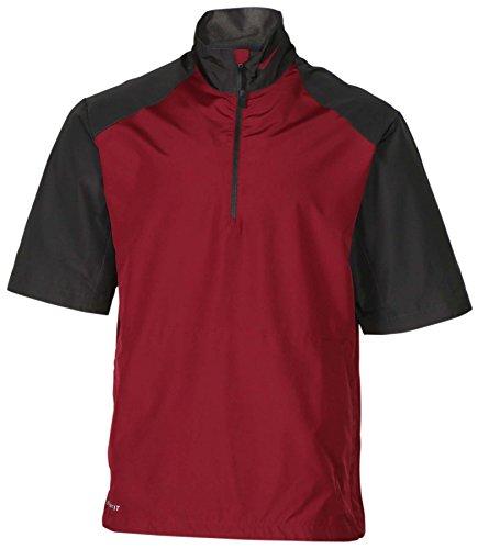 (Nike Men's Storm Fit 1/2 Zip Short Sleeve Football Jacket-Maroon/Grey-Small)