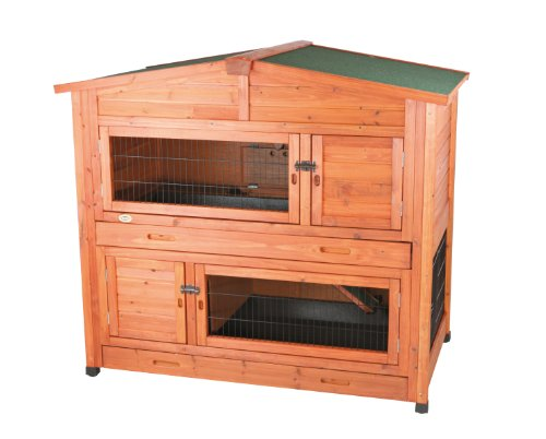 TRIXIE Pet Products 2-Story Rabbit Hutch with Attic (L), 52.25 x 32.5 x 47 inches