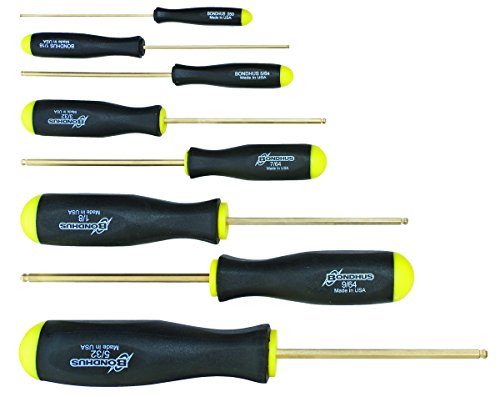 Bondhus 38632 Set of 8 Balldriver Screwdrivers, GoldGuard Fi
