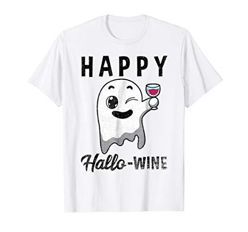 Happy Hallowine Shirt Ghost Halloween Wine Lover -