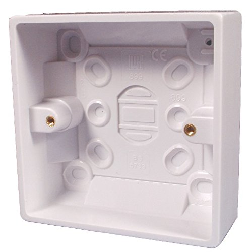 Bulk Hardware BH04175 Moulded Surface Pattress Back Box 1-Gang 35mm (1.3/8 inch) Deep - White, Pack of 1