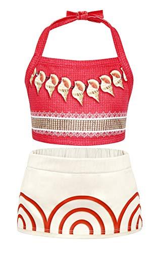 AmzBarley Girls Moana Swimsuits Kids Swimming Bathing Suit 2 Pieces Tankini Bikini Sets for Pool Party Swimwear Size 6
