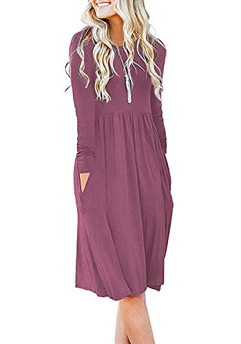 DB MOON Women Casual Long Sleeve Dresses Empire Waist Loose Dress with Pockets