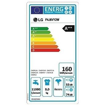 LG - lavadora estándar f4j6vy2 W 9 kg, Clase A + + + -20 ...