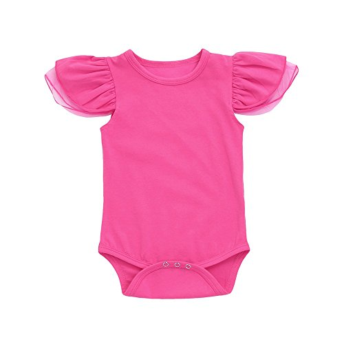WOCACHI Toddler Baby Girls Clothes, Toddler Newborn Baby Girls Solid Net Sleeve Rompers Jumpsuit Outfits Clothes Back to School Easter Egg Costume Parade Bunny Lily Eggs Roll Cushaw Basket Hot Pink]()