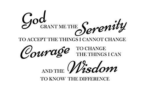 God grant me the serenity to accept things I can not change, the courage to change things i can, and the wisdom to know the difference serenity prayer Wall Art Vinyl Lettering Decal Sticker Saying ... ()
