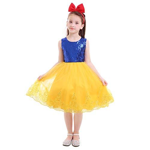FYMNSI Kid Girl Snow White Princess Dress Fancy Halloween Xmas Cosplay Costume Birthday PartyPerformance Gown with Headband 8-9T