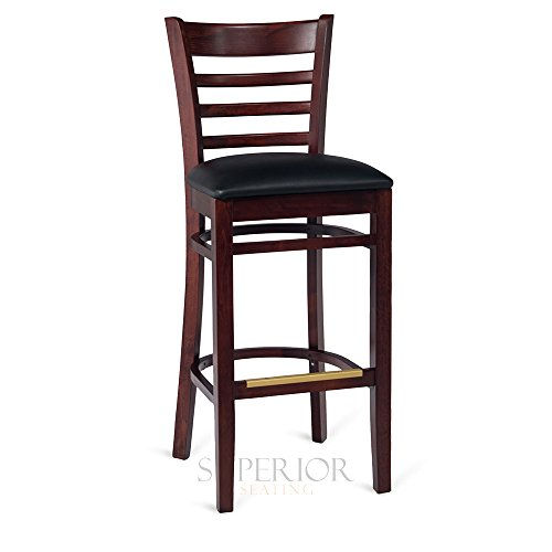 Dark Mahogany Wood Ladderback Commercial Bar Stool with Upholstered Seat by Superior Seating