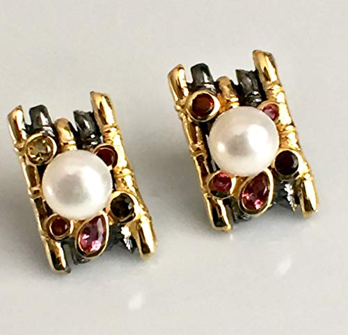 (Cultured White PEARL and Authentic TOURMALINE, 2-Tone Black Rhodium Coating & 14K Yellow Gold Vermeil 925 Sterling Silver, Handmade Earrings Jewelry.)