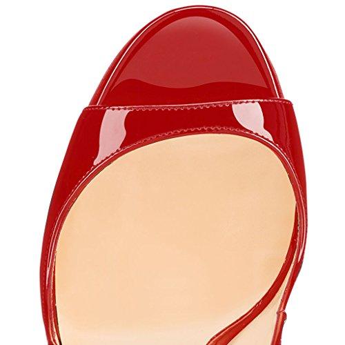 Soireelady Women's High Heel Slingback Sandals Peep Toe 12cm Stilettos Wedding Party Dress Heels Red cWtUIDQ1bb