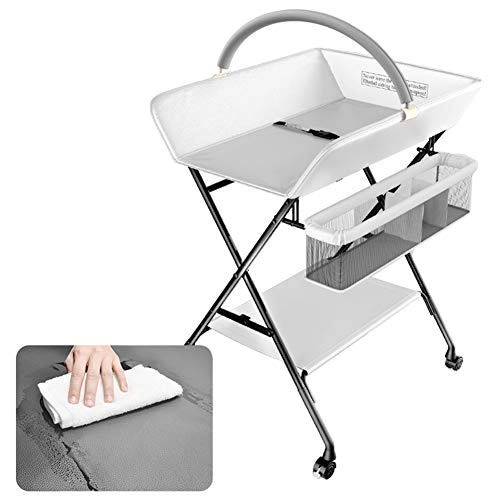 (LXLA - Folding Baby Changing Table for Small Space, Portable Waterproof Dresser Massaging Station for Infant, Arc Toy Bracket & Removable Casters (Color : White))