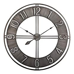 Studio Designs Home 30 Industrial LOFT Metal Decor Wall Clock, Brushed