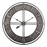 "Studio Designs Home 30"" Industrial LOFT Metal Decor Wall Clock Brushed"