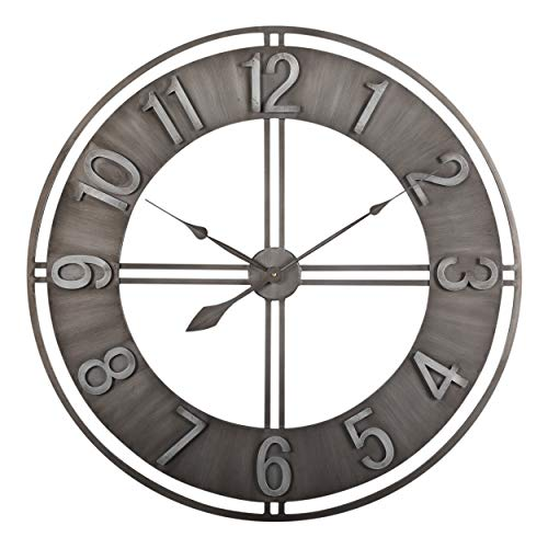 Studio Designs Home 30″ Industrial LOFT Decor Wall Clock, Brushed Metal
