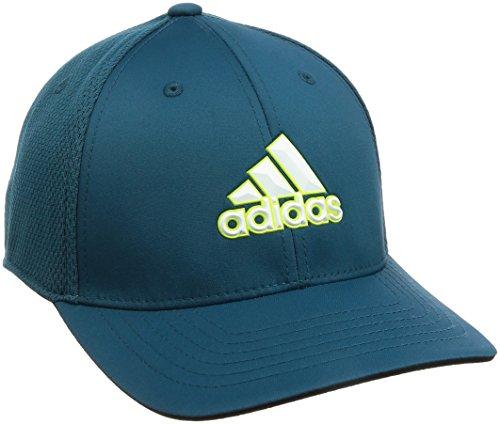 (adidas Tour Climacool Flex-Fit Structured Hat Mens Performance Golf Cap Petrol Night L/XL)