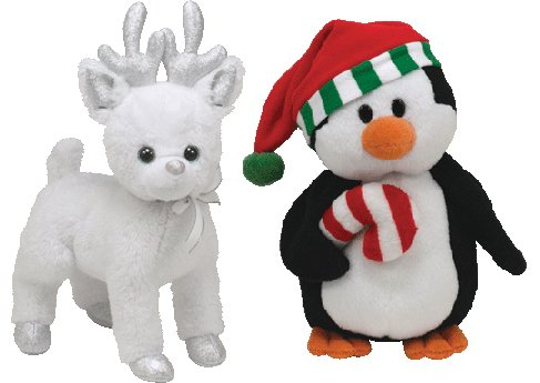 TY Beanie Babies SWEETEST Penguin and SNOCAP Reindeer Christmas toys