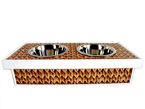 - Smucci Too! Pet Beds Designer Pet Diner for Dogs or Cats, Light Wooden Brown