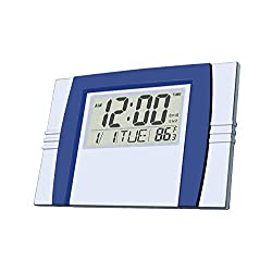 Digital Alarm Clock,Silent Alarm Clock with Large LCD Screen/ Time/ Alarm/ Snooze/ Month/ Date/ Weekday/ Indoor Temperature (Dark Blue & Silver)