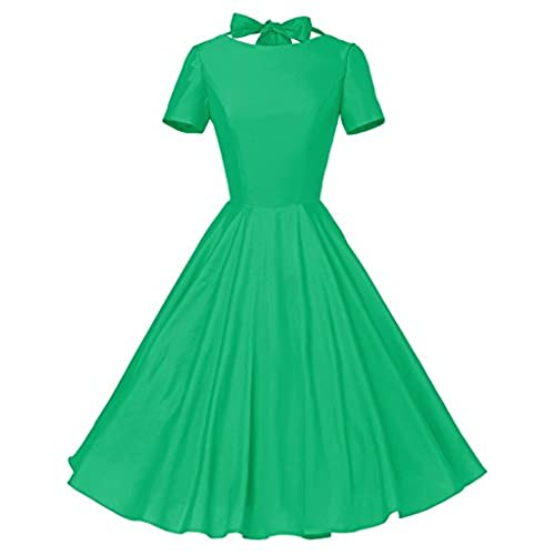 GownTown Womens 1950s Vintage Retro Party Swing Rockabillty Stretchy Dress - X-Small - Green