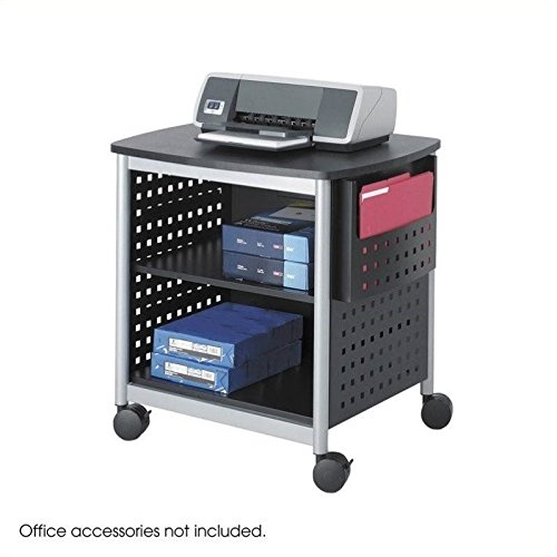 Safco Products 1856BL Scoot Desk Side Printer Machine Stand, Black/Silver by Safco Products