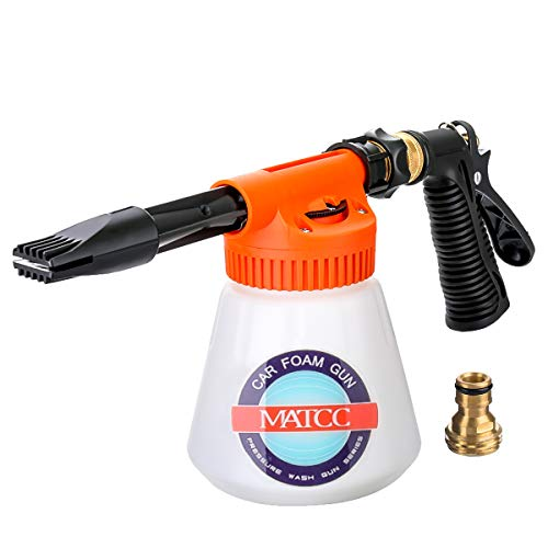 oam Blaster and Adjustable Car Wash Sprayer with Adjustment Ratio Dial Foam Sprayer Fit Garden Hose for Car Home Cleaning and Garden Use 0.23 Gallon Bottle ()